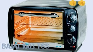 Bajaj OTG -1603 TSS**********************Powder coated and stainless steel bodyTimer with auto shut offThermostat monitors the temperatureUnique heating element designCapacity: 16 litersPower: 1200 wattsIncludes: Baking Tray, Grill Rack, Tong, Crumb Tray and Skewer Rodshttp://www.amazon.in/Bajaj-Majesty-1603-Toaster-Grill/dp/B009P2KRAWhttps://www.snapdeal.com/product/bajaj-majesty-1603-t-ss/639040