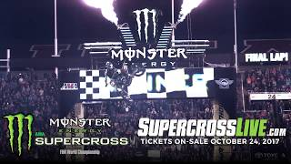 Monster Energy® AMA Supercross, an FIM World Championship, is the premier off-road motorcycle racing circuit in the world, produced inside the world's most elite stadiums. Monster Energy® Supercross tracks are man-made inside the stadium. Some of the sport's marquee names include Ryan Dungey, Ken Roczen, Eli Tomac, Trey Canard, Jason Anderson, Chad Reed, David Millsaps and former supercross greats Jeremy McGrath and Ricky Carmichael. Regarded as the king of action sports, supercross has been described as one of the most physically demanding sports. Visit our official website: http://www.SupercrossLive.comShop for official merch: http://www.supercrosssuperstore.comWatch us on YouTube: http://www.youtube.com/supercrossliveLike us on Facebook: http://www.Facebook.com/SupercrossLive Follow us on Twitter: http://www.Twitter.com/SupercrossLive  Follow us on Instagram: http://instagram.com/SupercrossLive