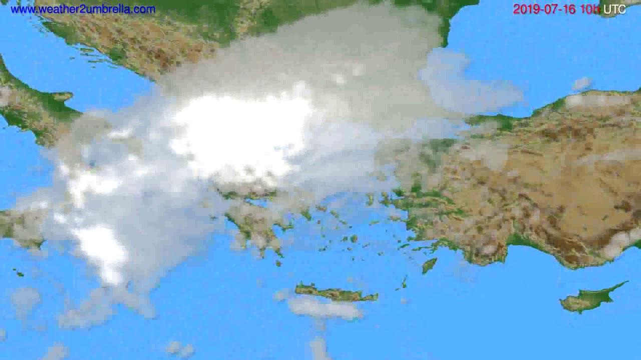 Cloud forecast Greece // modelrun: 12h UTC 2019-07-13