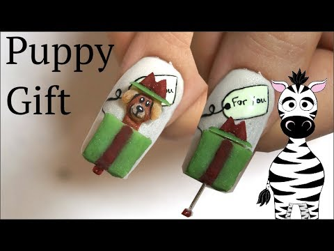 Acrylic nails - 4D Puppy in a Gift Acrylic Nail Art Tutorial  Christmas 2018
