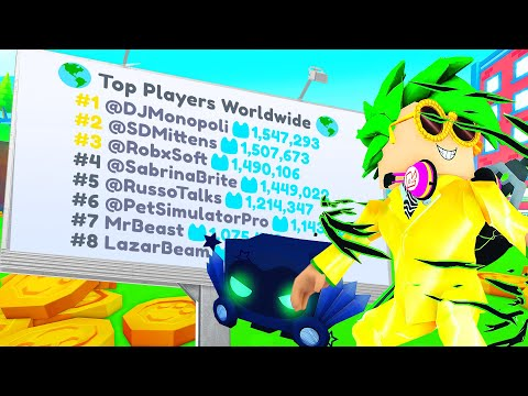 I got NUMBER 1 on the Leaderboard WORLDWIDE in Pet Simulator X!