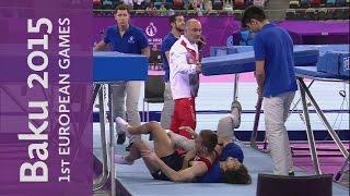 متطوع ينقذ لاعب جمباز من السقوط على الأرض في دورة الألعاب الأوربية