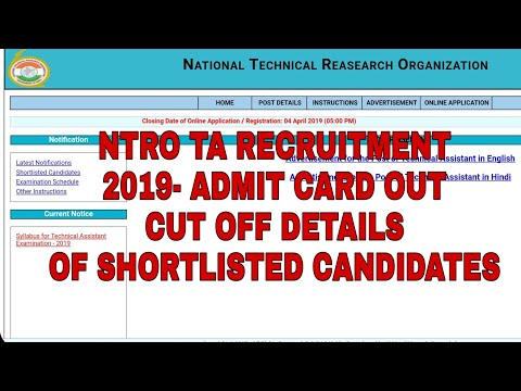 Ntro Technical Assistant Recruitment 2019 Admit Card And Cut Off Details Of Shortlisted Students