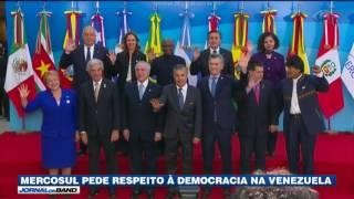 Reunidos na Argentina, presidentes de países do Mercosul pediram o fim da violência e o respeito à democracia na Venezuela.