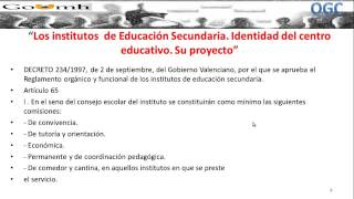 Umh0455 2013-14 Lec002 Los Institutos De Educación Secundaria. Identidad Del Centro Educativo