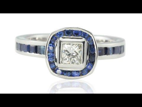 Bezel set Diamond Engagement Ring with Blue Sapphire Halo LS4484
