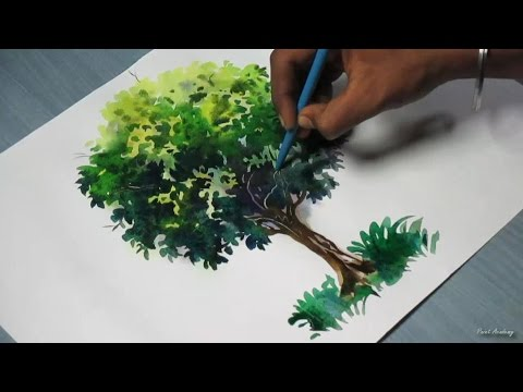 How to paint a tree with water colors