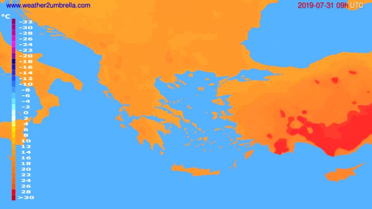 Temperature forecast Greece // modelrun: 12h UTC 2019-07-29