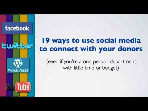 Non Profit - Even if you're a one-person fundraising department with little time or budget, you can master social media to connect with donors and volunteers. Tim Bete sh...