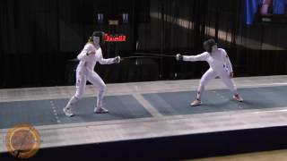 This is a semifinal bout in the women's epee event at the NCAA fencing championships in Indianapolis, Indiana. Katharine Holmes of Princeton University is on the right and Eugenia Falqui of Ohio State University is on the left.
