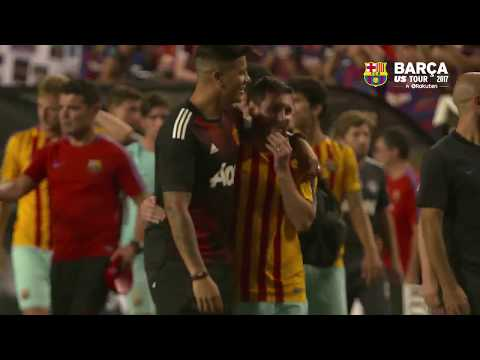 Mourinho hug Messi & Neymar (видео)