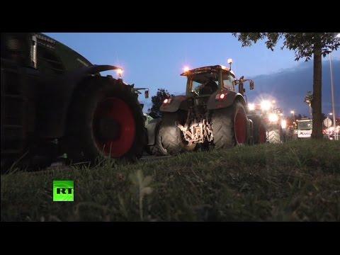 Бельгийские фермеры блокируют дороги, требуя повышения закупочной цены на молоко