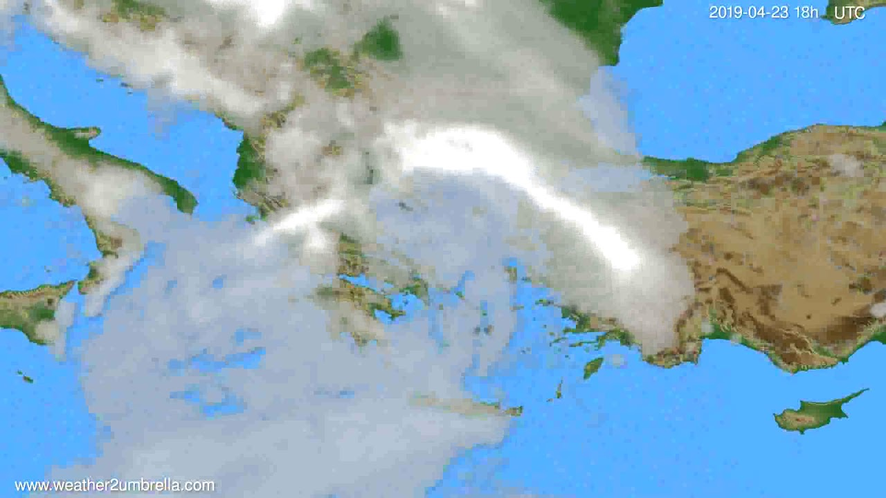 Cloud forecast Greece // modelrun: 00h UTC 2019-04-21
