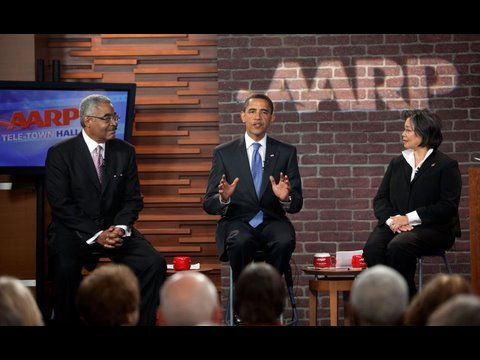 President Obama Holds a Health Care Town Hall at AARP