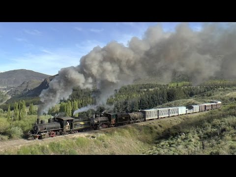 Argentina, La Trochita, double-headed steam train from Esquel