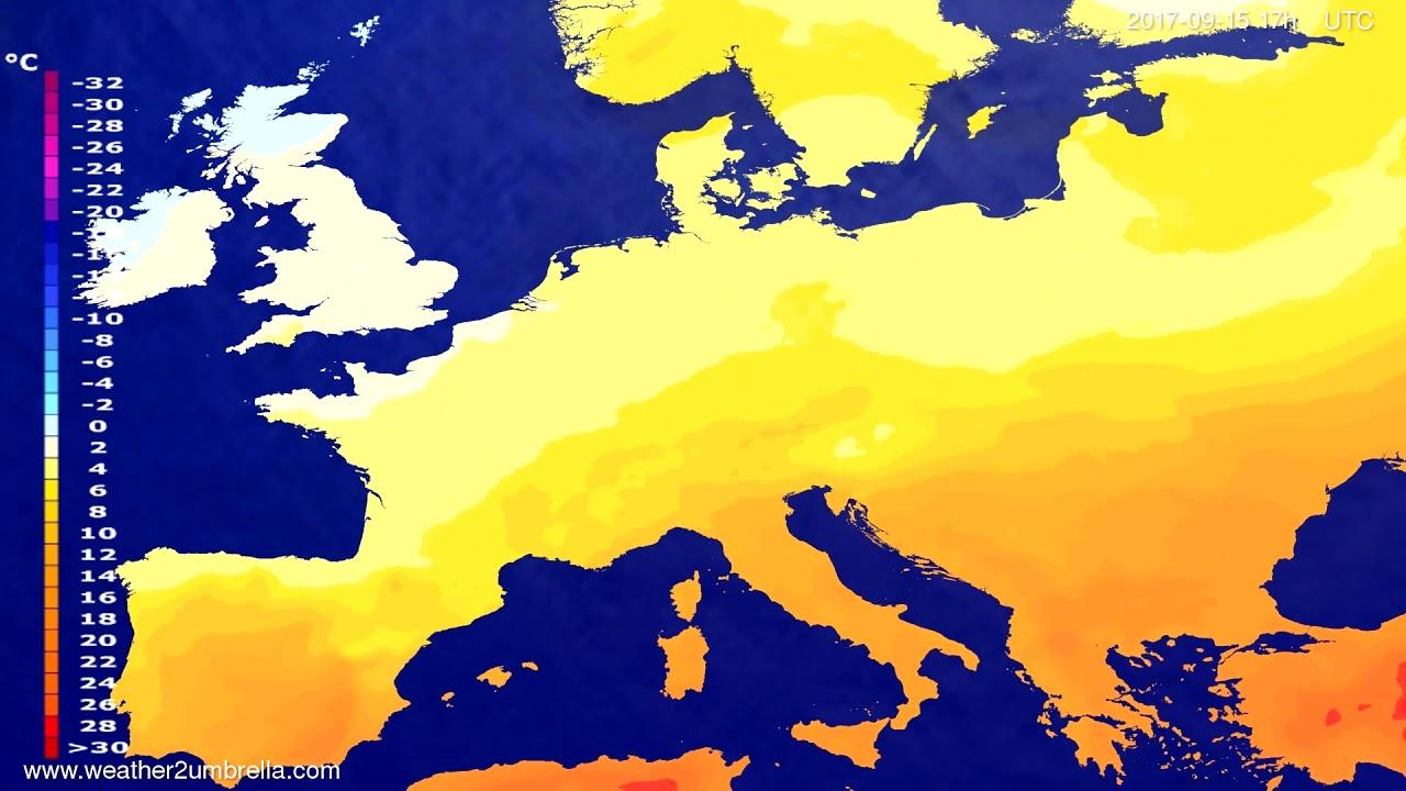Temperature forecast Europe 2017-09-13