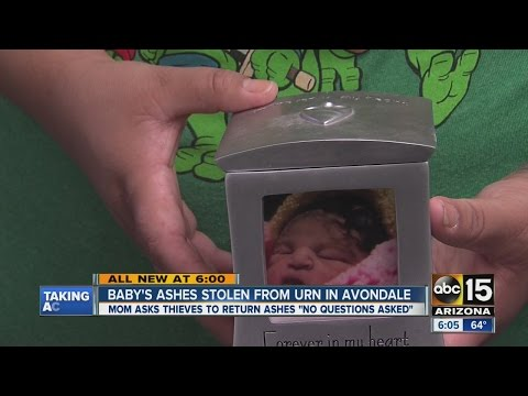 Baby's ashes stolen from urn in Avondale