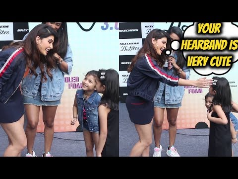 Jacqueline Fernandez With Her Little Fans At The Launch Of Skechers New Collection D'Lites