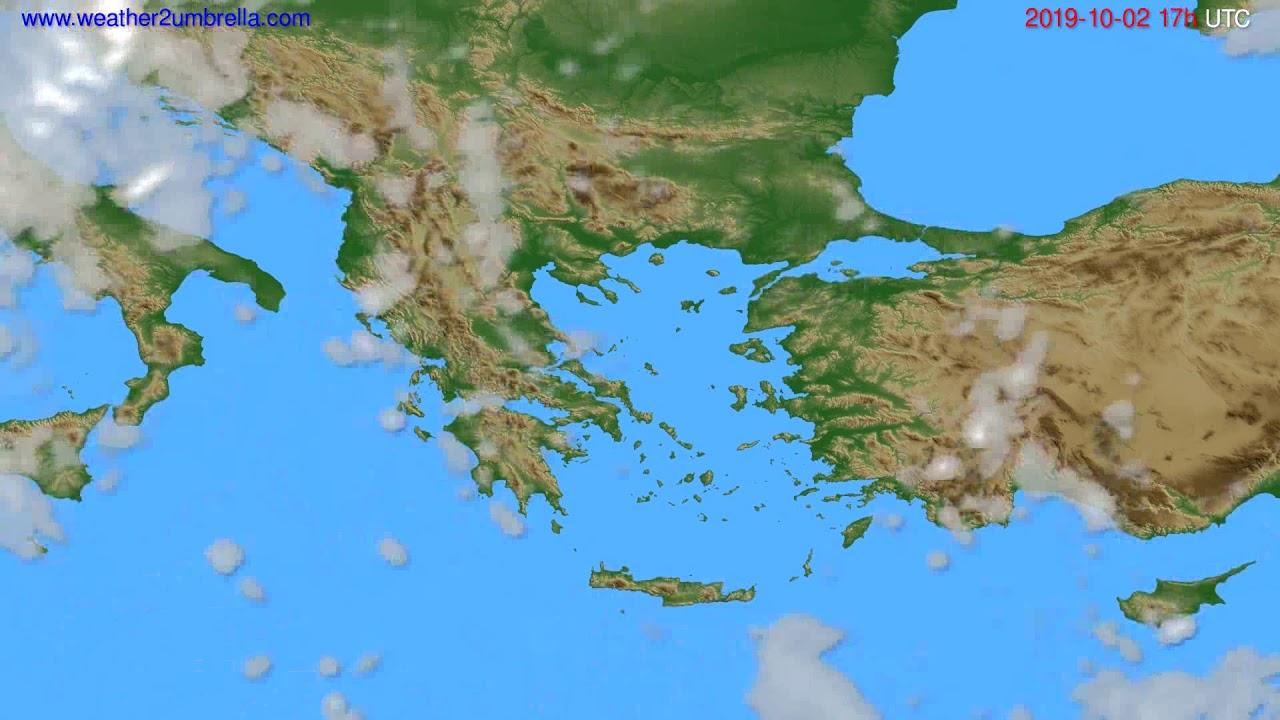 Cloud forecast Greece // modelrun: 00h UTC 2019-10-01