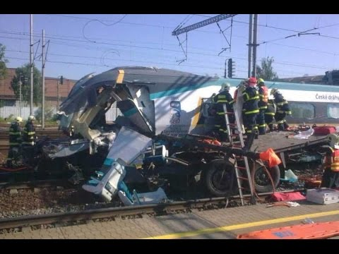 high-speed Pendolino train and a lorry crash - Studenka Czech Republic