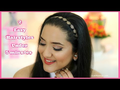 2 Easy Hairstyles Under 5 minutes  Quick  Everyday Hairstyles  Perkymegs