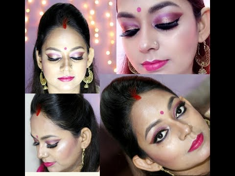 Bengali traditional makeup look for Durga puja step by step in Hindi