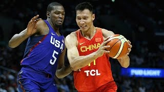 Kevin Durant, Carmelo Anthony, Kyrie Irving and the United States  play Yi Jianlian and China in this preparation game for the 2016 Rio Olympics. Played in Los Angeles' Staples Center. Full match in English.👍 and subscribe for more international basketball videos ► http://bit.ly/SubWorldBasketballBox score ► http://www.usab.com/news-events/live-stats/2016/07/box-score-2016-mnt-showcase-game-usa-vs-china1.aspx