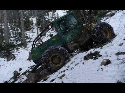 TIMBERJACK 460 SKIDDER débardage EXTRÊME 2 sur terrain gelé dans un mur [HD] METIER DE L'EXTREME