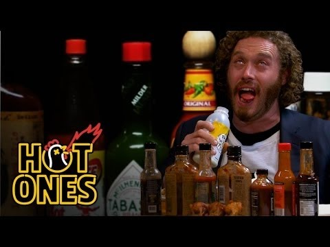 T.J. Miller almost pukes while eating spicy wings