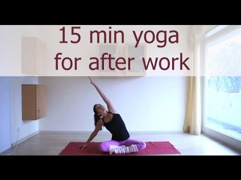 after work - A 15 minute gentle yoga sequence to release tension after a long day. Always work within a pain-free range. Facebook: http://www.facebook.com/yogabycandace T...