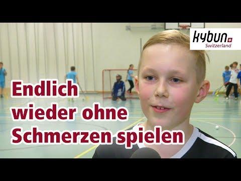 Junger Unihockeyspieler leidet an Fersensporn