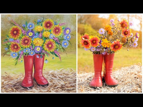 Autumn Floral Boots Acrylic Painting LIVE Tutorial