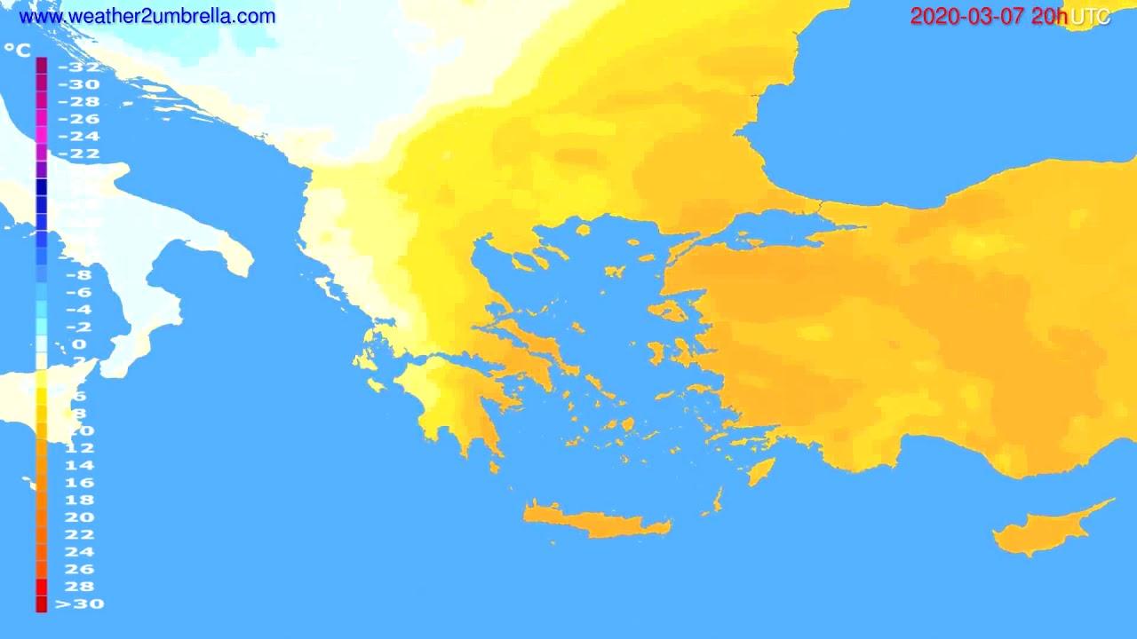 Temperature forecast Greece // modelrun: 12h UTC 2020-03-06