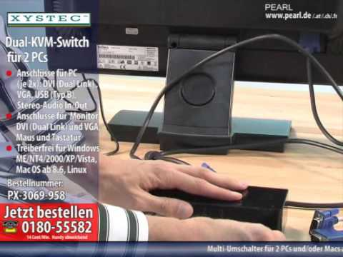 Xystec Dual-KVM-Switch für 2 PCs mit DVI/VGA, USB und Stereo-Audio