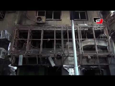 آثار حريق «محل ملابس رياضية شهير» بمنطقة البحوث