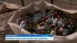 Programa troca materiais recicláveis por alimentos em Itapetininga