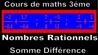 Maths 3ème - Les nombres rationnels Addition et Soustraction Exercice 30
