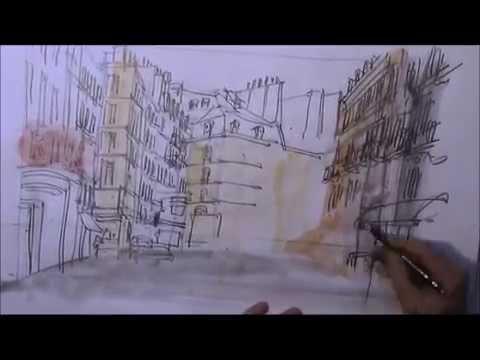 schnell zeichnen mit Bleistift und Wasserfarbe