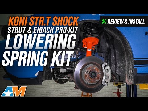 2011-2014 Mustang KONI STR.T Shock, Strut & Eibach Lowering Pro-Kit GT, V6, BOSS Review & Install (видео)