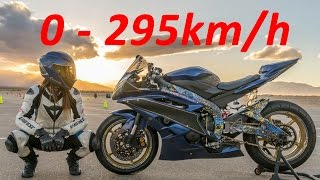 8. Yamaha YZF-R6 - Acceleration 0-295km/h & Startup & Exhaust Sound & Burnout & Wheelie & TOP Speed