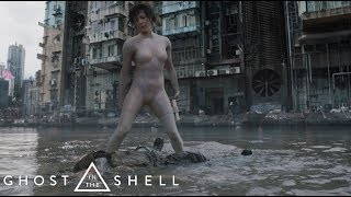 Ghost in the Shell (2017) - Skinny Man (Street Gun Fight, Chase & Invisible Water Fight) Scene [HD]