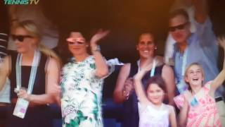 Roger Federer waves to his wife Mirka and kids after winning ATP Masters 1000 title in Indian Wells 2017 in California, USA.