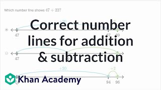 Sal figures out which number line matches up with a 2-digit addition or subtraction problem.Watch the next lesson: https://www.khanacademy.org/math/cc-2nd-grade-math/cc-2nd-add-subtract-100/cc-2nd-add-100/v/adding-two-digit-numbers-without-regrouping?utm_source=YT&utm_medium=Desc&utm_campaign=2ndgradeMissed the previous lesson? https://www.khanacademy.org/math/cc-2nd-grade-math/cc-2nd-add-subtract-100/cc-2nd-math-strategies-for-adding-within-100/v/example-exercises-on-ways-to-add-two-digit-numbers?utm_source=YT&utm_medium=Desc&utm_campaign=2ndgrade2nd grade on Khan Academy: Learn to see three-digit numbers as hundreds, tens, and onesAbout Khan Academy: Khan Academy is a nonprofit with a mission to provide a free, world-class education for anyone, anywhere. We believe learners of all ages should have unlimited access to free educational content they can master at their own pace. We use intelligent software, deep data analytics and intuitive user interfaces to help students and teachers around the world. Our resources cover preschool through early college education, including math, biology, chemistry, physics, economics, finance, history, grammar and more. We offer free personalized SAT test prep in partnership with the test developer, the College Board. Khan Academy has been translated into dozens of languages, and 100 million people use our platform worldwide every year. For more information, visit www.khanacademy.org, join us on Facebook or follow us on Twitter at @khanacademy. And remember, you can learn anything.  For free. For everyone. Forever. #YouCanLearnAnythingSubscribe to Khan Academy's 2nd grade channel: https://www.youtube.com/channel/UCNKAFuuw3dpsiSl9n90zgvw?guided_help_flow=3?sub_confirmation=1Subscribe to Khan Academy: https://www.youtube.com/subscription_center?add_user=khanacademy