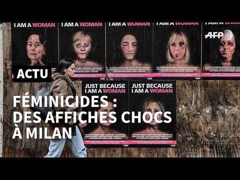 Les visages tumГfiГs de Brigitte Macron et Angela Merkel placardГs Г Milan  AFP News