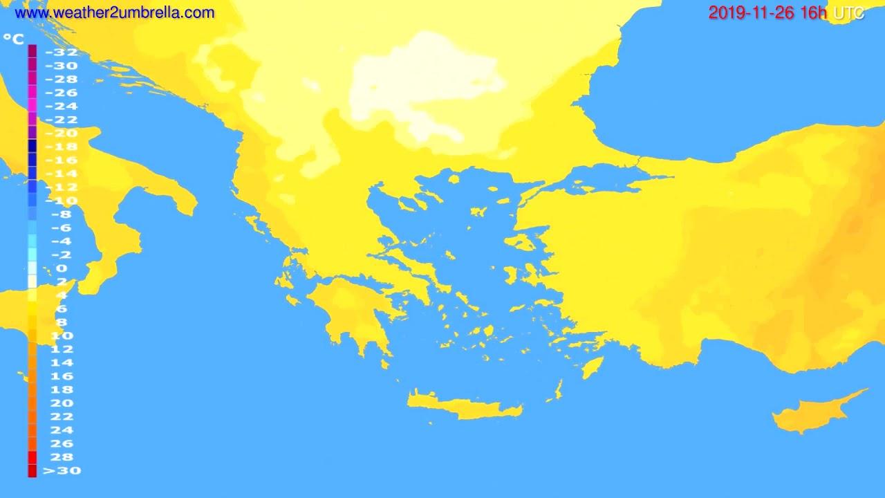 Temperature forecast Greece // modelrun: 12h UTC 2019-11-25