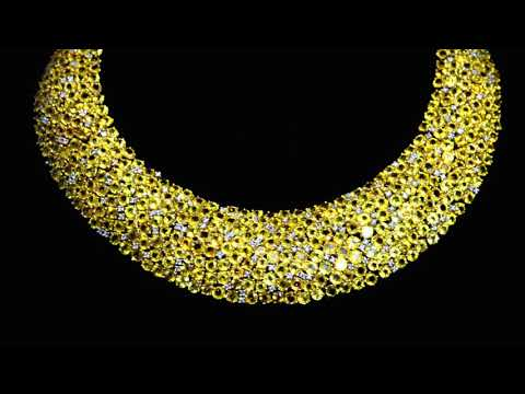 218ct Exquisite Yellow Sapphire and Diamond Collar Necklace