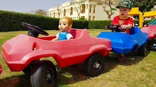 Funny baby doll Driving Car Pretend play learning video Baby Shark Nursery Rhymes song