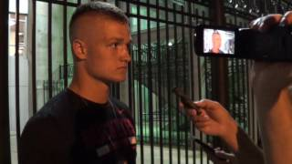 Cade Stover, an uncommitted linebacker recruit from Lexington, Ohio, meets with the media after Ohio State's Friday Night Lights event on July 21, 2017.