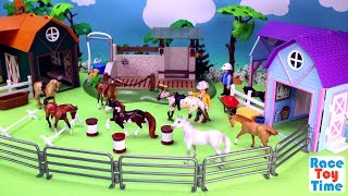 Hi kids, RaceToyTime here! Today, we are going to show, build, play with the Breyer Riding Academy Stable Barn and Horse Playsets. Please subscribe to RaceToyTime channel if you haven't already done so. Like, share, and comment on our video. And, as always, thanks for watching!Subscribe to racetoytime here - https://www.youtube.com/channel/UCVTQrl1dtafYX08IBb7EhrwWatch our other videos:  Learn Animal Toys Names │ Zoo Animals Elephant Lion Tiger Rhino for Kids - https://www.youtube.com/watch?v=KnsmONvQyeYLearning Sea Animals Toy Sharks Whales Dolphin - https://www.youtube.com/watch?v=9i88w4UqPnADinosaur Surprise Toys Game in the Claw Machine -  Learn Dinosaurs Names For Children - https://www.youtube.com/watch?v=H8AkVqFrxhoJurassic World Mini Dinosaurs Figures Blind Bag Exclusive Indominus Rex  - https://www.youtube.com/watch?v=_bgyS74lUR8Playmobil City Zoo Toy Wild Animals Building Set Build Review - https://www.youtube.com/watch?v=g5dbYcmUHZ8Playmobil City Life Large Zoo Toy Wild Animals Building Set Build Review - https://www.youtube.com/watch?v=IZXfiFPyW8EDinosaurs 3D Puzzles Animals Eggs Surprise Toys - Spinosaurus Ankylosaurus Pteranodon - https://www.youtube.com/watch?v=VJuukvLmpSgDinosaur Transforming Eggs Toys - Tyrannosaurus Rex Pterodactyl Velociraptor Triceratops - https://youtu.be/HT_CFeMP9GkToy Wild Animals 3D Puzzles Collection - Lion Panda Elephant Zebra Tortoise │ Animals for children - https://youtu.be/yabb98z1WC8Playmobil Toy Wild Zoo Animals Collection For Kids - Tiger Panda Koala Gorilla - https://youtu.be/L06I3WiWjNsPLAYMOBIL Country Farm Animals Pen and Hen House Building Set Build Review  - https://www.youtube.com/watch?v=dGplrNa-NZkPLAYMOBIL Toy Wild Zoo Animals Collection For Kids - Tiger Panda Koala Gorilla - https://youtu.be/L06I3WiWjNsPlaymobil Safari Wild Animals Buiding Toy Sets Collection For Kids - https://youtu.be/M27Txqwyc4cSea Animals Island Sandbox - Learn Wild Animal Names For Kids! - https://youtu.be/nZfA-mG0TU4Music: YouTube Au