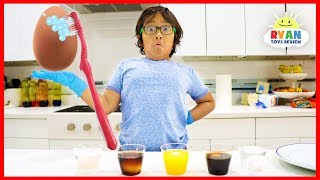 Eggs in different Liquids science experiments!!!
